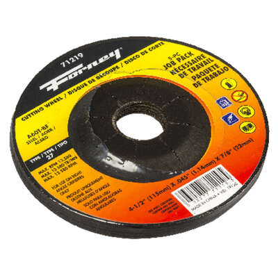 Forney 4-1/2 in. Dia. x 7/8 in. Aluminum Oxide Metal Cutting Wheel 5 pk