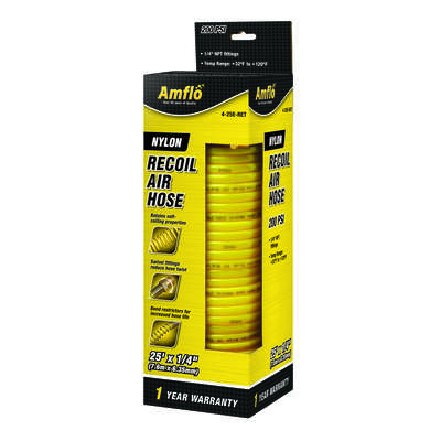 Amflo  25 ft. L x 1/4 in. Dia. Nylon  Recoil Air Hose  200 psi Yellow