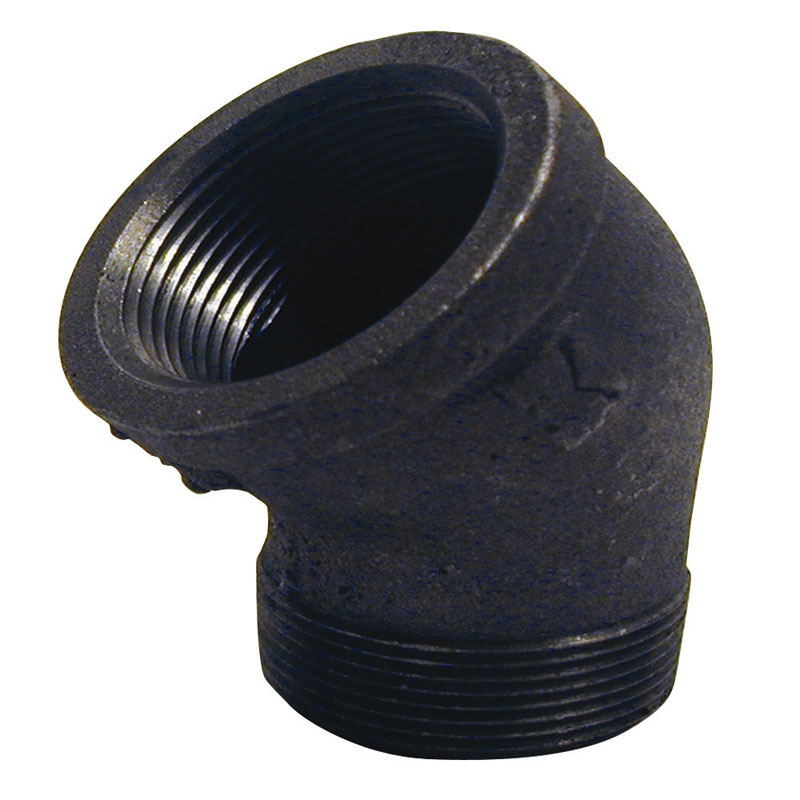 B & K  3/8 in. FPT   x 3/8 in. Dia. MPT  Black  Malleable Iron  Street Elbow