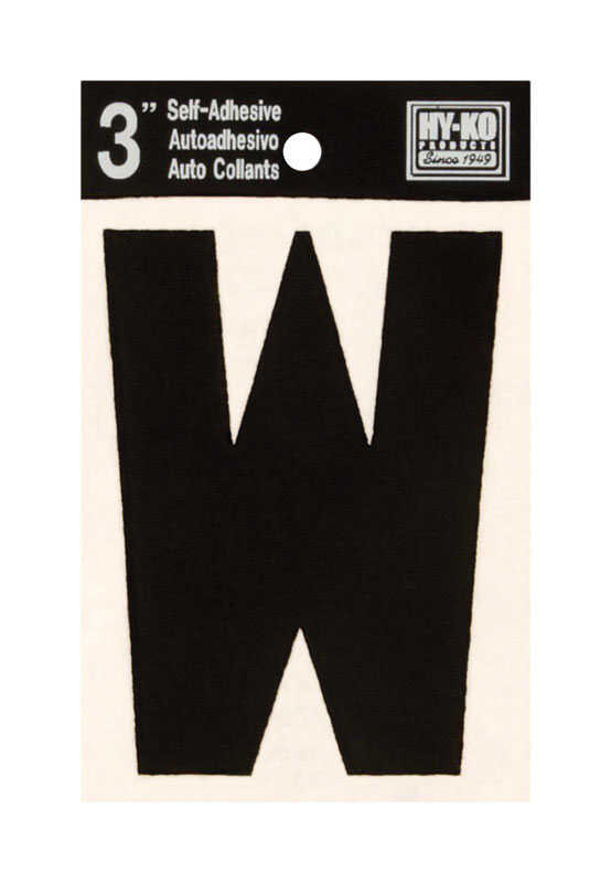 Hy-Ko  3 in. Vinyl  Black  W  Letter  Self-Adhesive