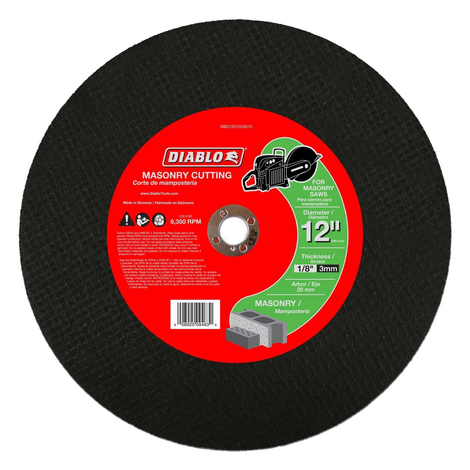 Diablo  12 in. Aluminum Oxide  Masonry Cut-Off Disc  1/8 in.  x 20 mm   1 pk