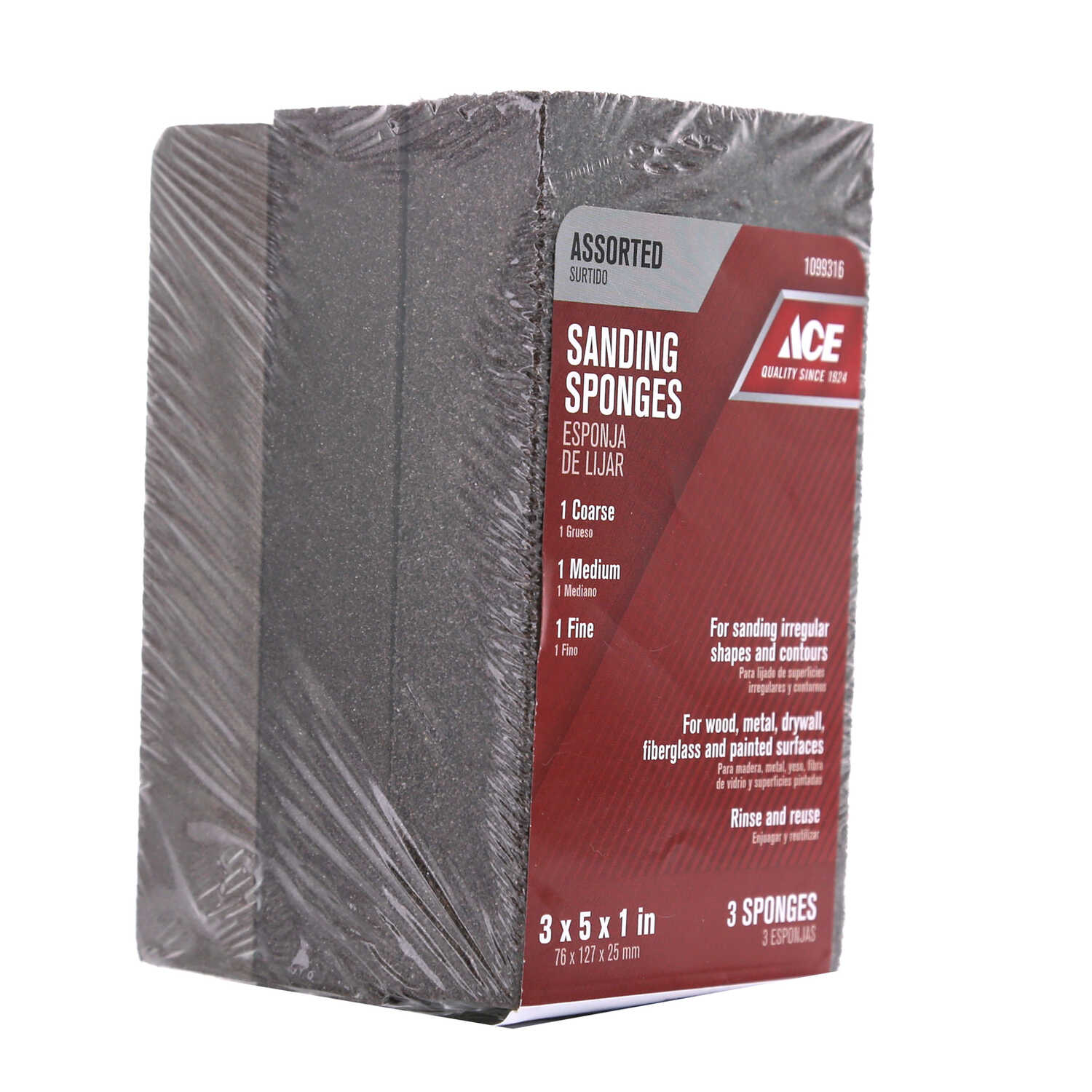 Ace  5 in. L x 5 in. W x 1 in.  60/80/120 Grit Sanding Sponge  Assorted  Extra Large