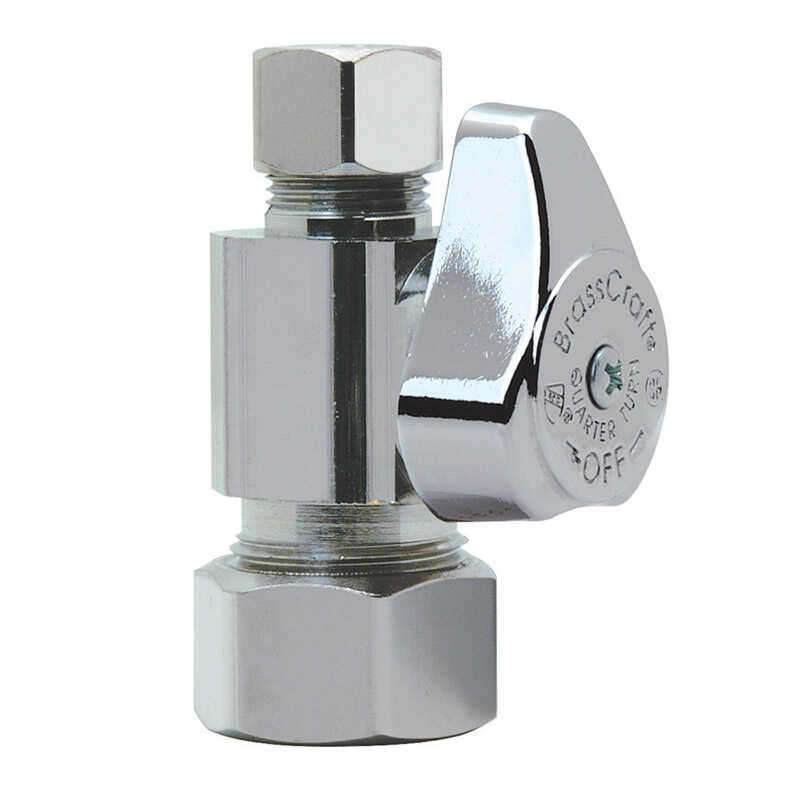 Brasscraft  5/8 in. Dia. x 3/8 in. Dia. x 1/2 in.  x 3/8 in.  Straight  Brass  Shut-Off Valve