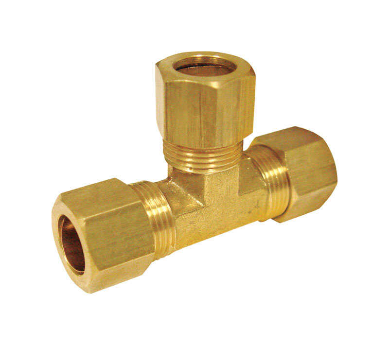ACE  3/8 in. Dia. x 3/8 in. Dia. x 1/4 in. Dia. Compression To Compression To Compression  Brass  Te