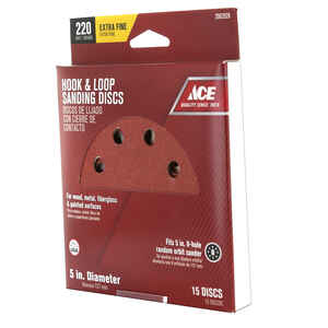 Ace  5 in. Aluminum Oxide  Hook and Loop  Sanding Disc  220 Grit Very Fine  15 pk