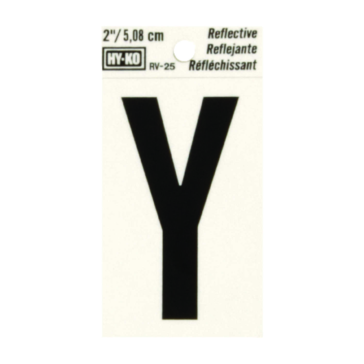 Hy-Ko  2 in. Vinyl  Black  Reflective Letter  Self-Adhesive  Y