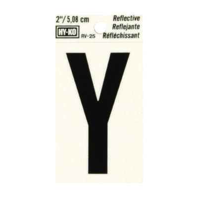 Hy-Ko  2 in. Reflective Black  Vinyl  Self-Adhesive  Letter  Y  1 pc.