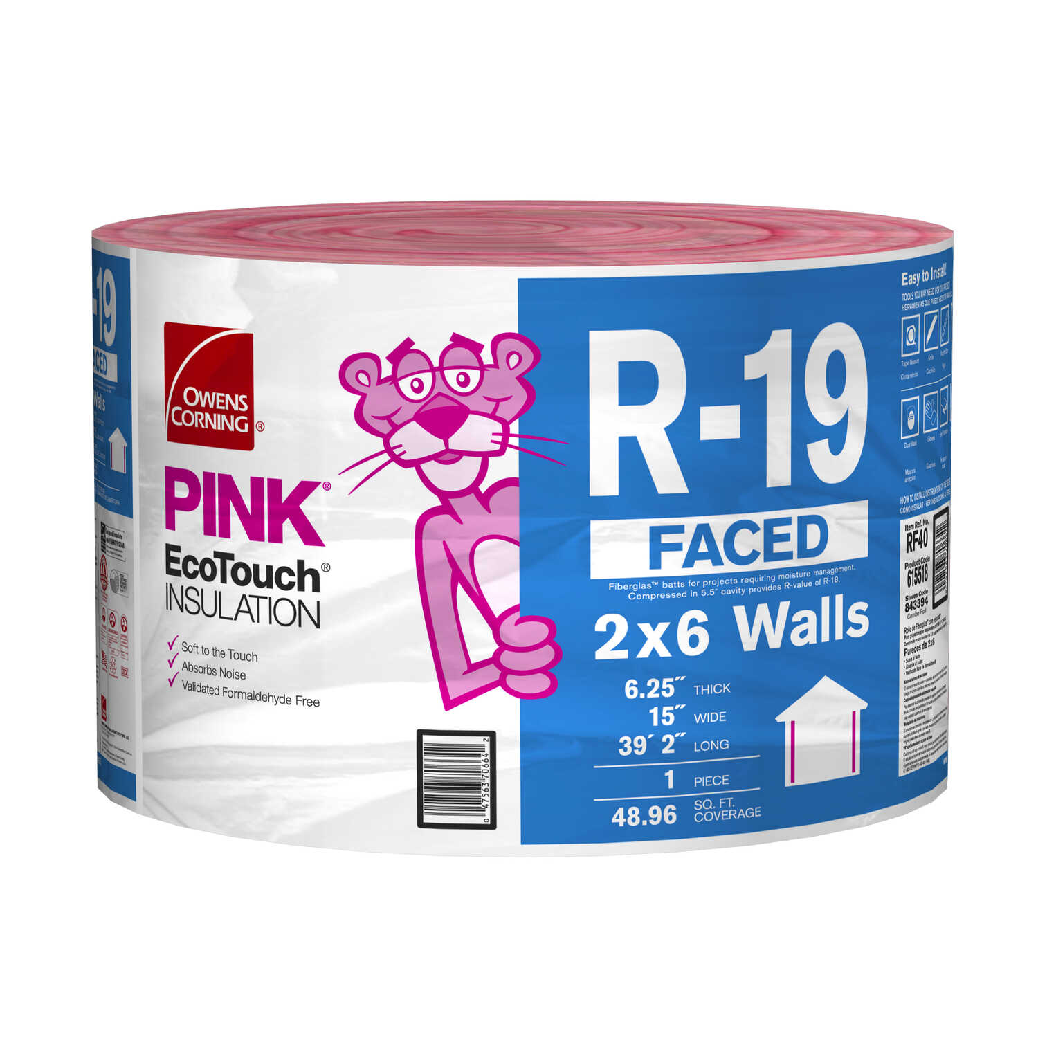 Owens Corning  15 in. W x 470 in. L R-19  Kraft Faced  Fiberglass  Insulation  Roll  48.96 sq. ft.