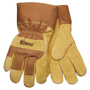 Kinco  Men's  Outdoor  Pigskin Leather  Knit Wrist  Work Gloves  Gold  M  1 pair