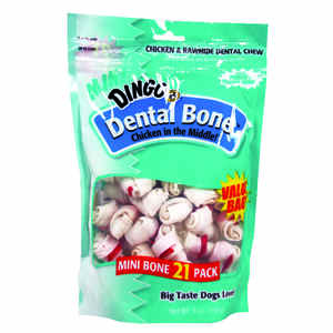 Dingo  Dental Bone  Small  Adult  Rawhide Bone  Chicken  2.5  L 21 pk