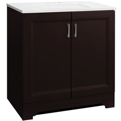 Continental Cabinets  Single  Dark  Espresso  Vanity Combo  30 in. W x 18-1/2 in. D x 33-1/2 in. H