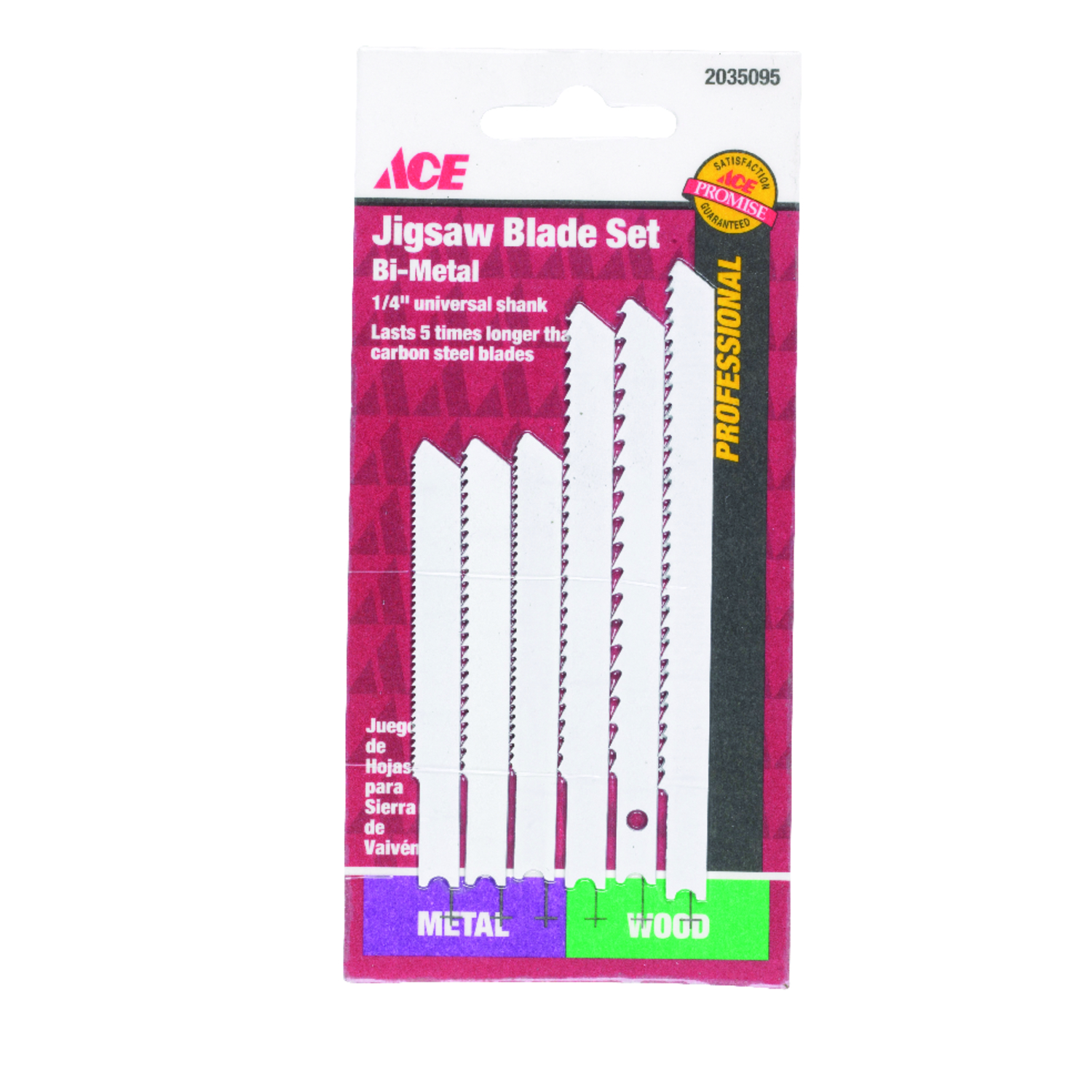 Ace  Bi-Metal  Jig Saw Blade Set  6 pk U-Shank