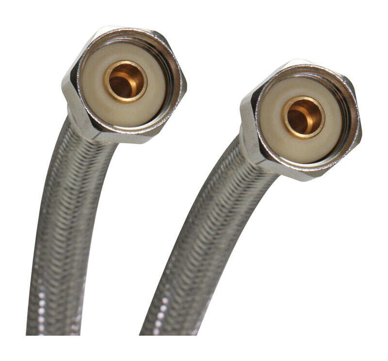 Fluidmaster  1/2 in. FIP   x 1/2 in. Dia. Compression  Stainless Steel  Faucet  Supply Line  16 in.