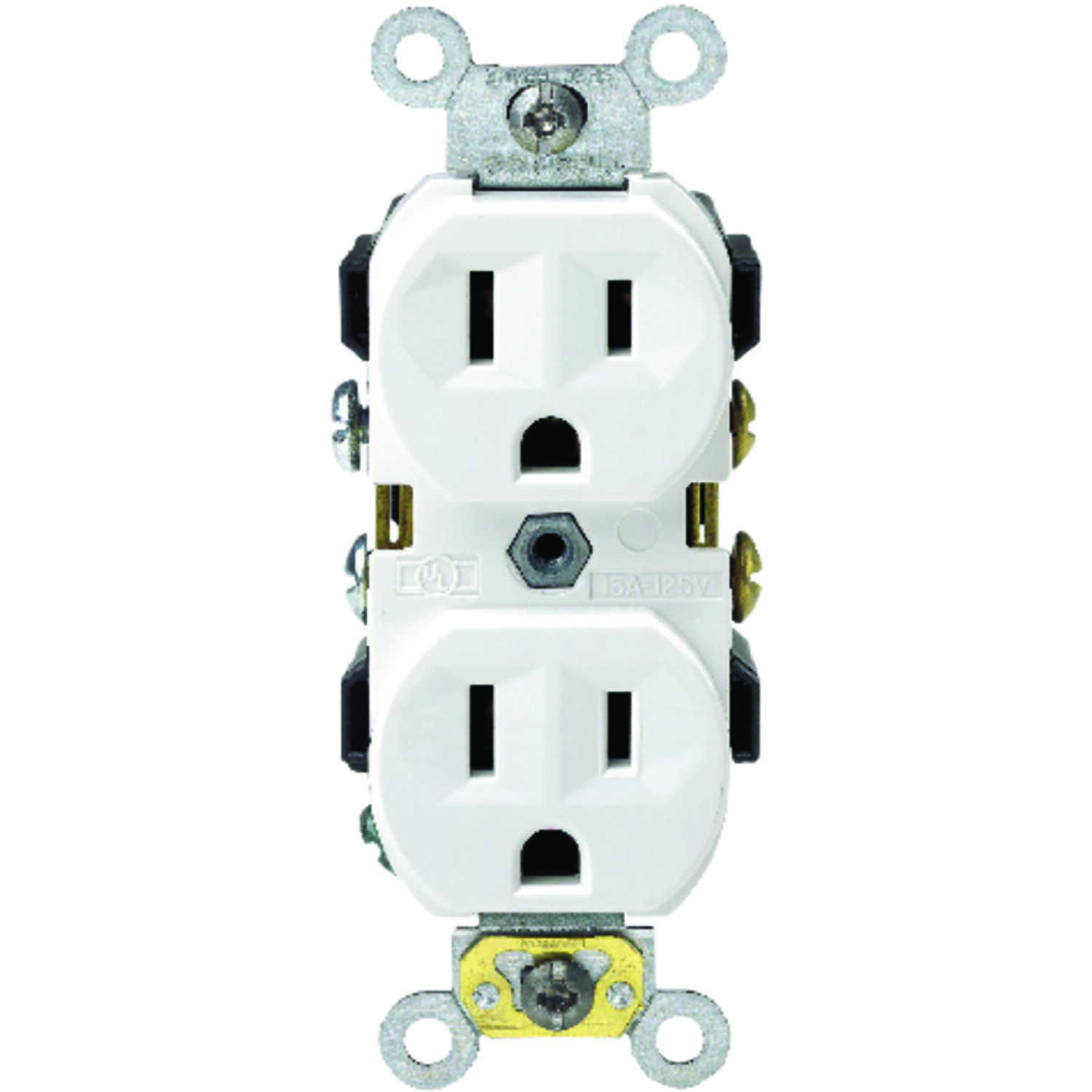 Leviton  15 amps 125 volt White  Outlet  5-15R  1 pk