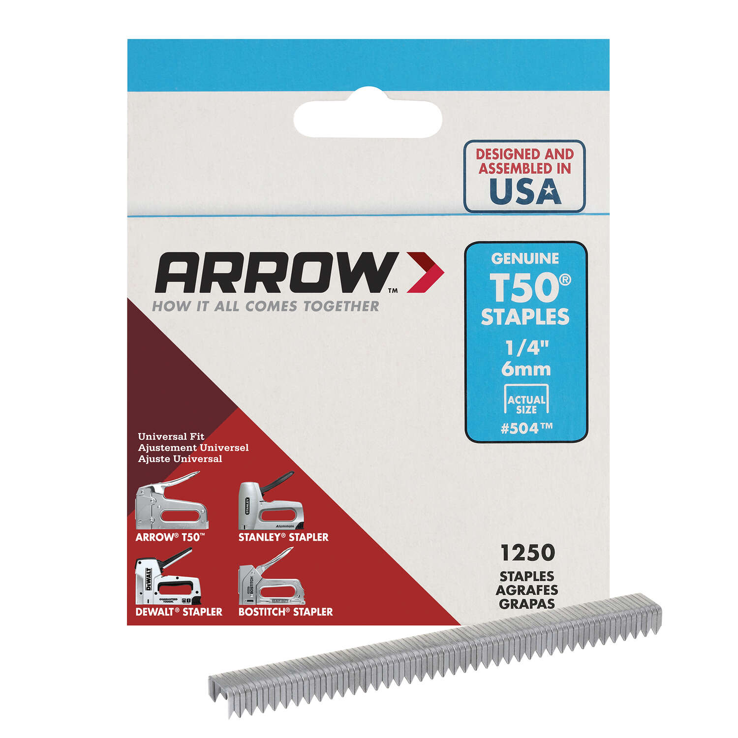 Arrow Fastener  T50  3/8 in. W x 1/4 in. L 18 Ga. Wide Crown  Heavy Duty Staples  1250 pk