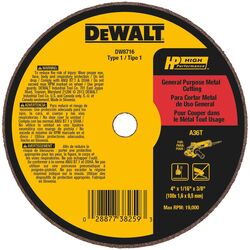 DeWalt  High Performance  4 in. Dia. x 3/8 in.  Aluminum Oxide  Cut-Off Wheel  1 pc. Prop 65 Violation
