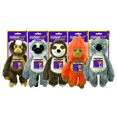 Multipet  Assorted  Monkey, Lemur, Sloth, Tamarin, and Koala  Polyester  Dog Toy  Medium