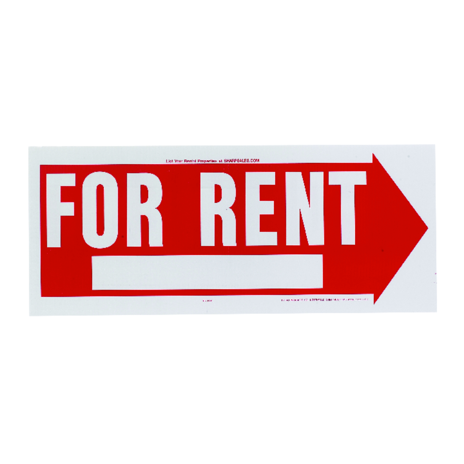 Hy-Ko  English  10 in. H x 24 in. W Sign  Plastic  For Rent