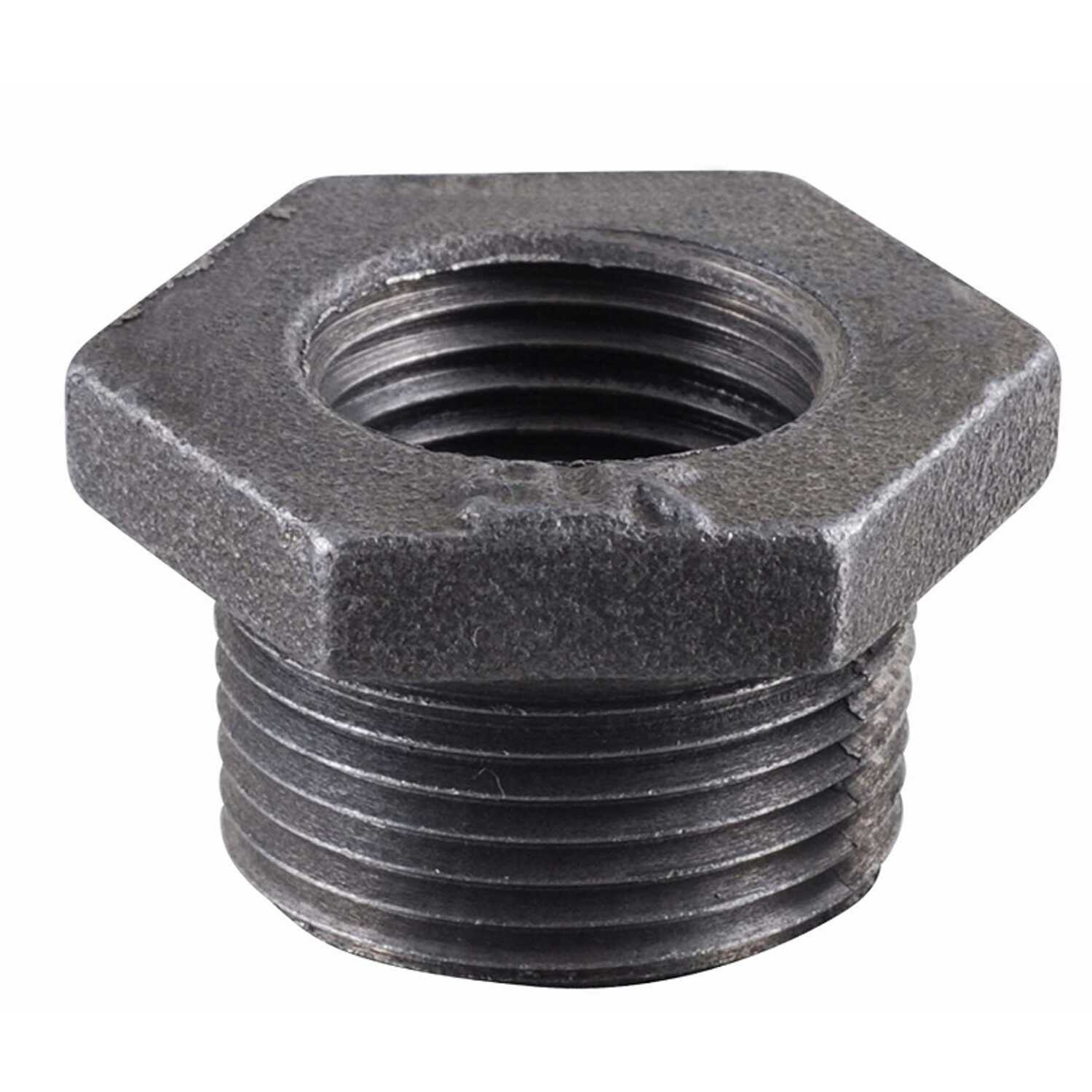 B & K  1/2 in. MPT   x 1-1/2 in. Dia. FPT  Black  Malleable Iron  Hex Bushing