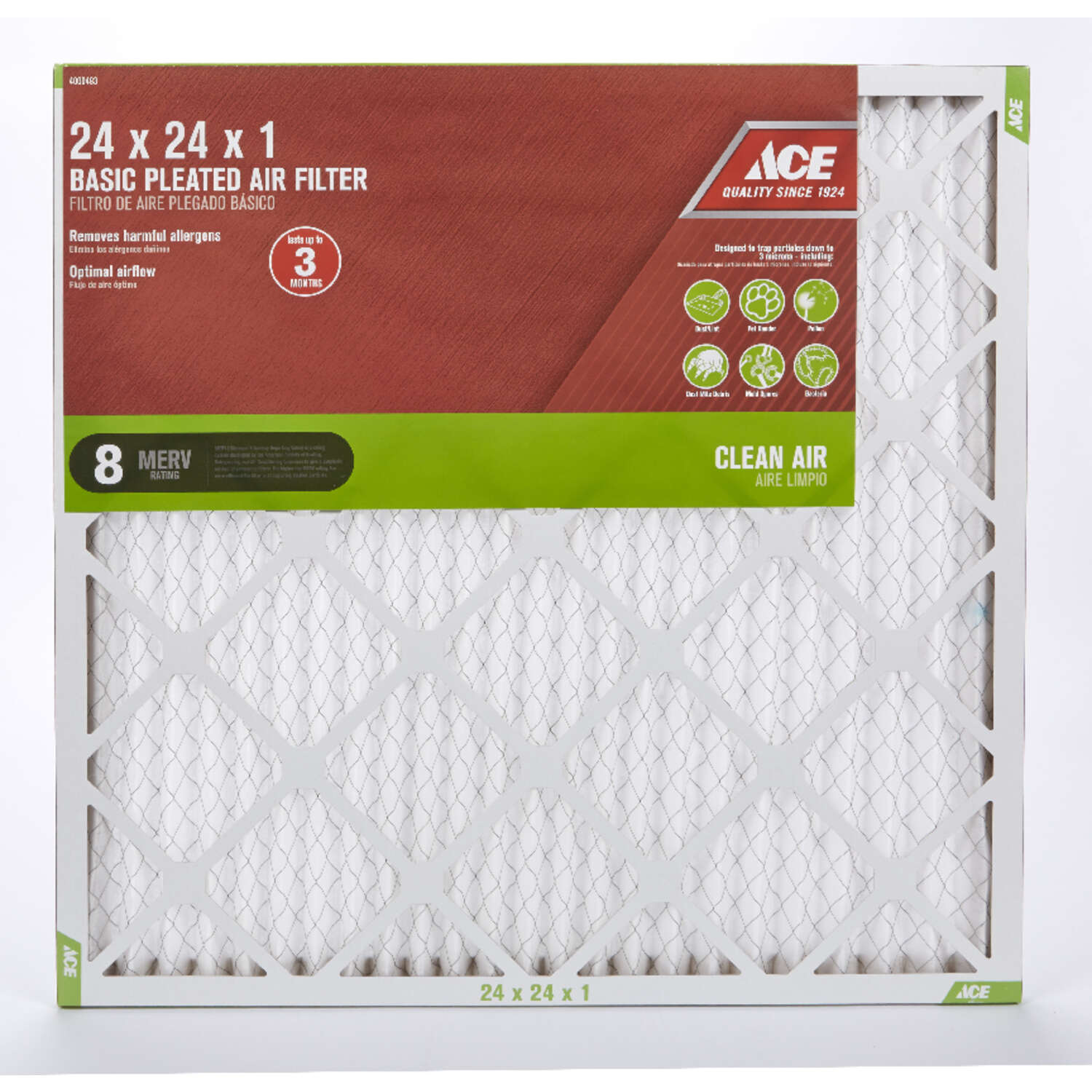 Ace  24 in. W x 24 in. H x 1 in. D 8 MERV Pleated Air Filter