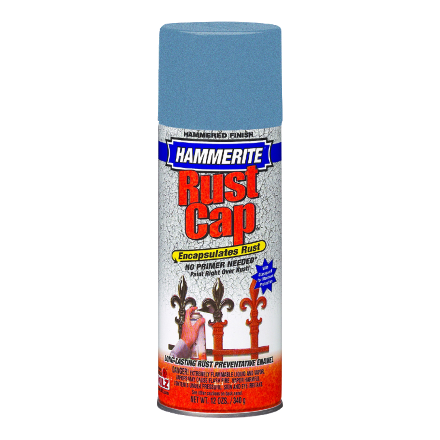 Hammerite  Rust Cap  Hammered  Light Blue  Hammered Enamel Finish Spray  12 oz.