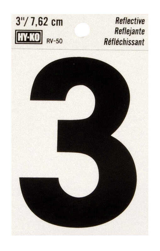 Hy-Ko  3 in. Reflective 3  Number  Self-Adhesive  Black  Vinyl