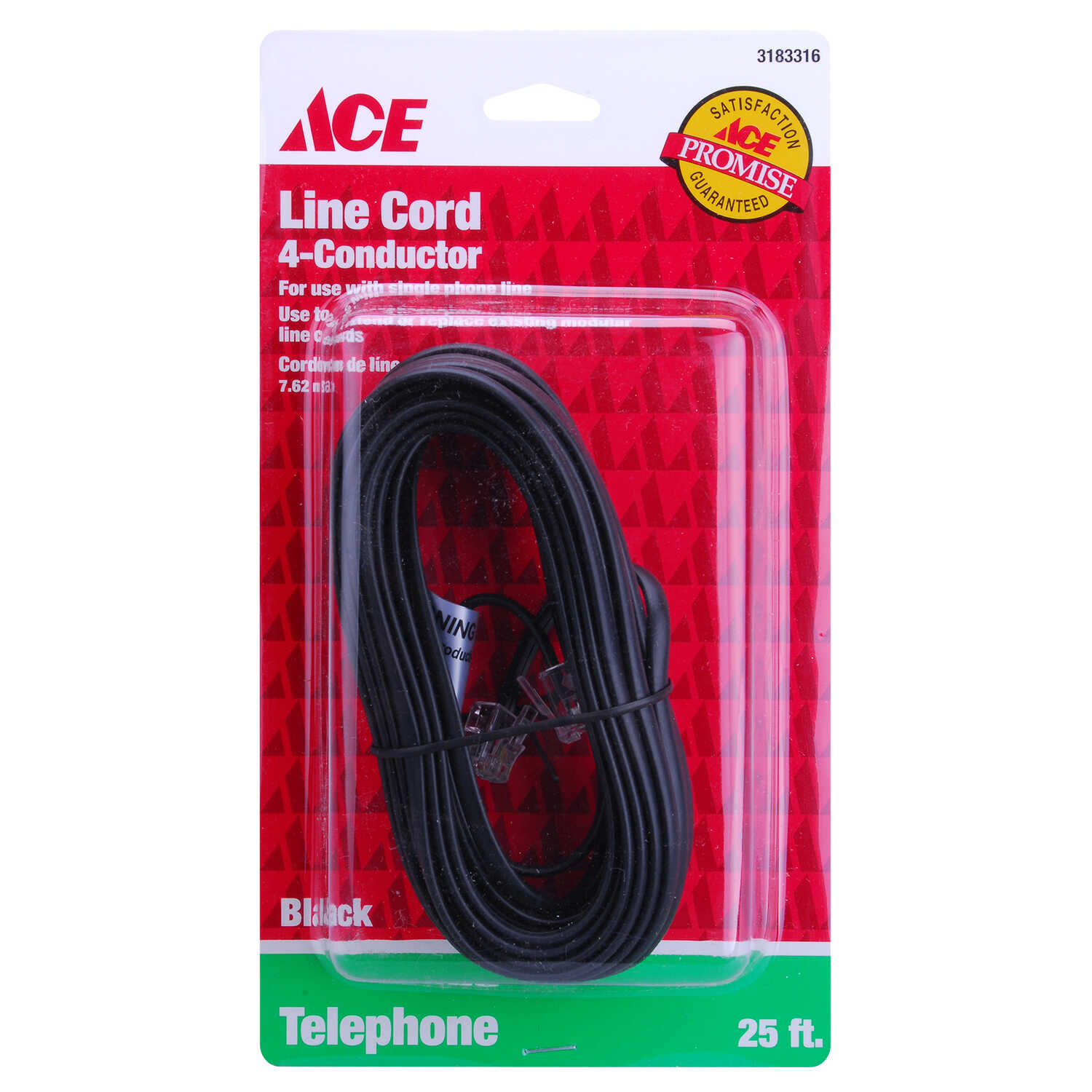 Ace  25 ft. L Black  Modular Telephone Line Cable