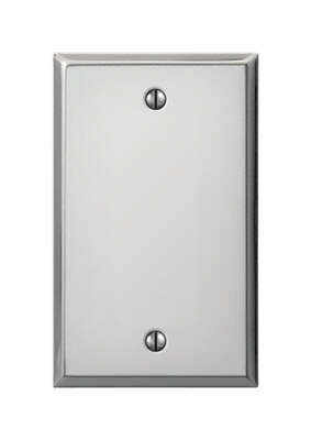 Amerelle Contractor Polished Chrome Metallic 1 gang Stamped Steel Blank Wall Plate Cover 1 pk