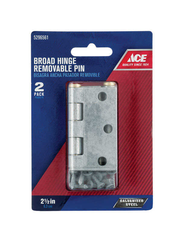 Ace  2-1/2 in. L Galvanized  Steel  Broad Hinge  2 pk