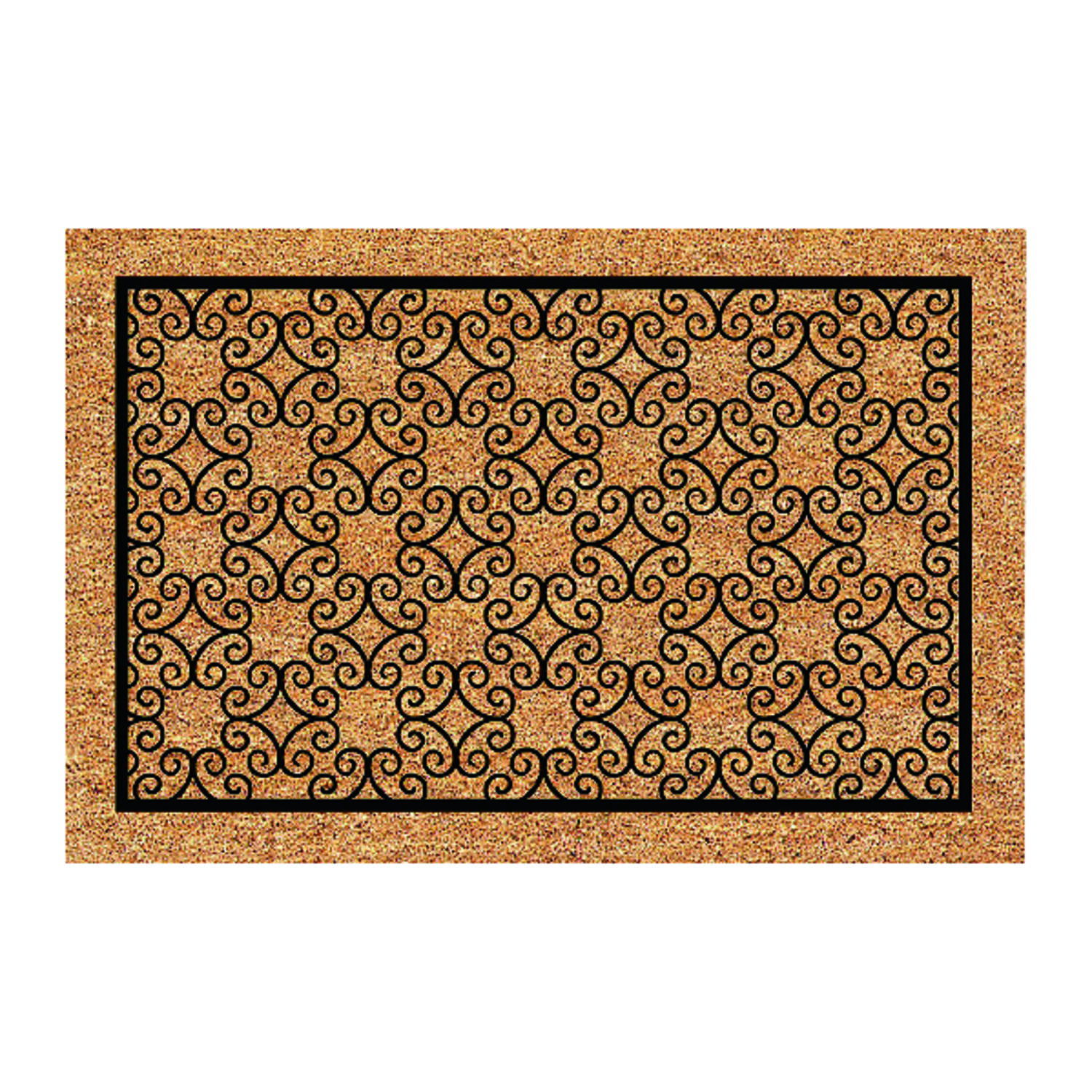 DeCoir  24 in. L x 36 in. W Tan/Black  Piedmont  Coir  Nonslip Door Mat
