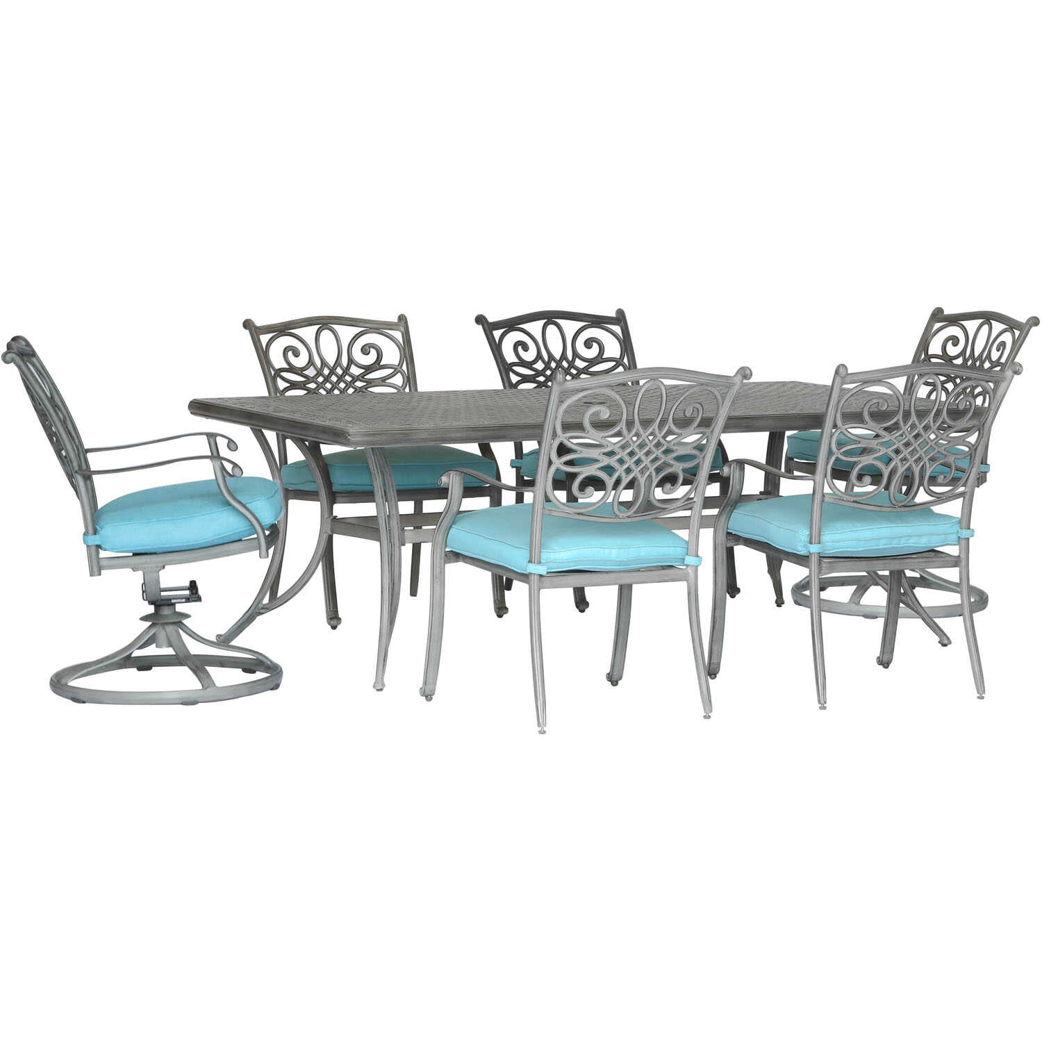 Hanover  Traditions  7 pc. Bronze  Aluminum  Patio Set  Blue