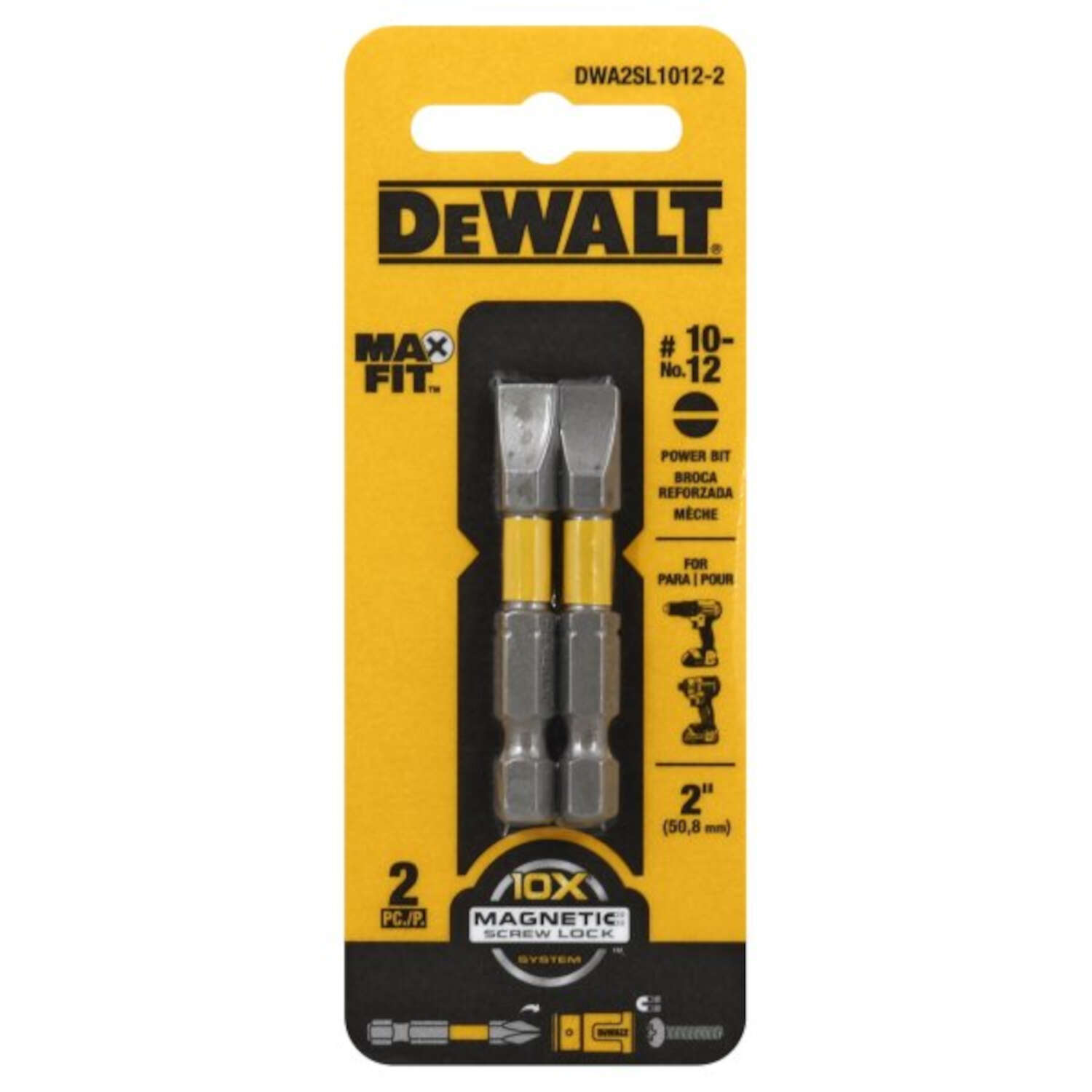 DeWalt MAXFIT Slotted 10-12 x 2 in. L Power Bit S2 Tool Steel 2 pc.