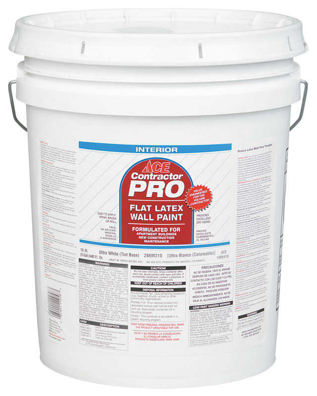 Ace  Contractor Pro  Flat  Latex  Paint  5 gal. White