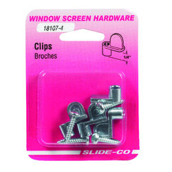 Prime-Line  Mill  Die Cast  Screen Clip  For 1/4 inch 4 pk