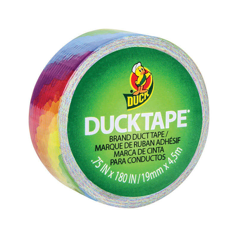 Duck  0.75 in. W x 5 yd. L Multicolored  Rainbow  Duct Tape