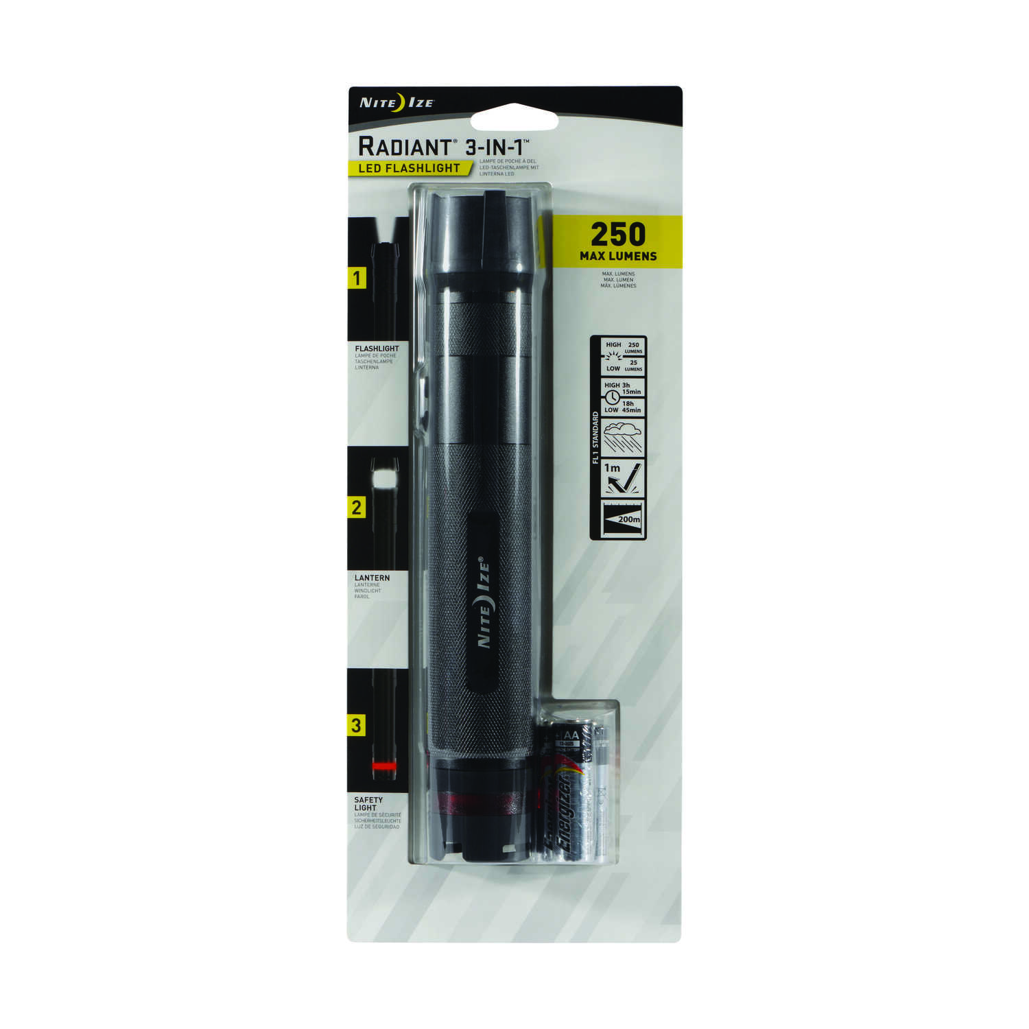 Nite Ize  3-in-1  250 lumens Black  LED  Flashlight  AA Battery
