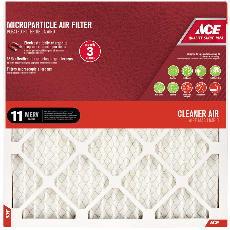 Ace  20 in. H x 12 in. W x 1 in. D Pleated  Microparticle Air Filter