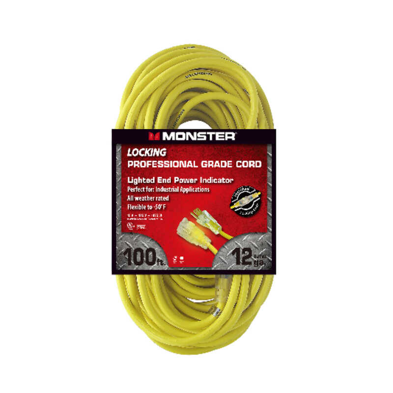Monster Cable  Outdoor  100 ft. L Yellow  Extension Cord  12/3 SJTW
