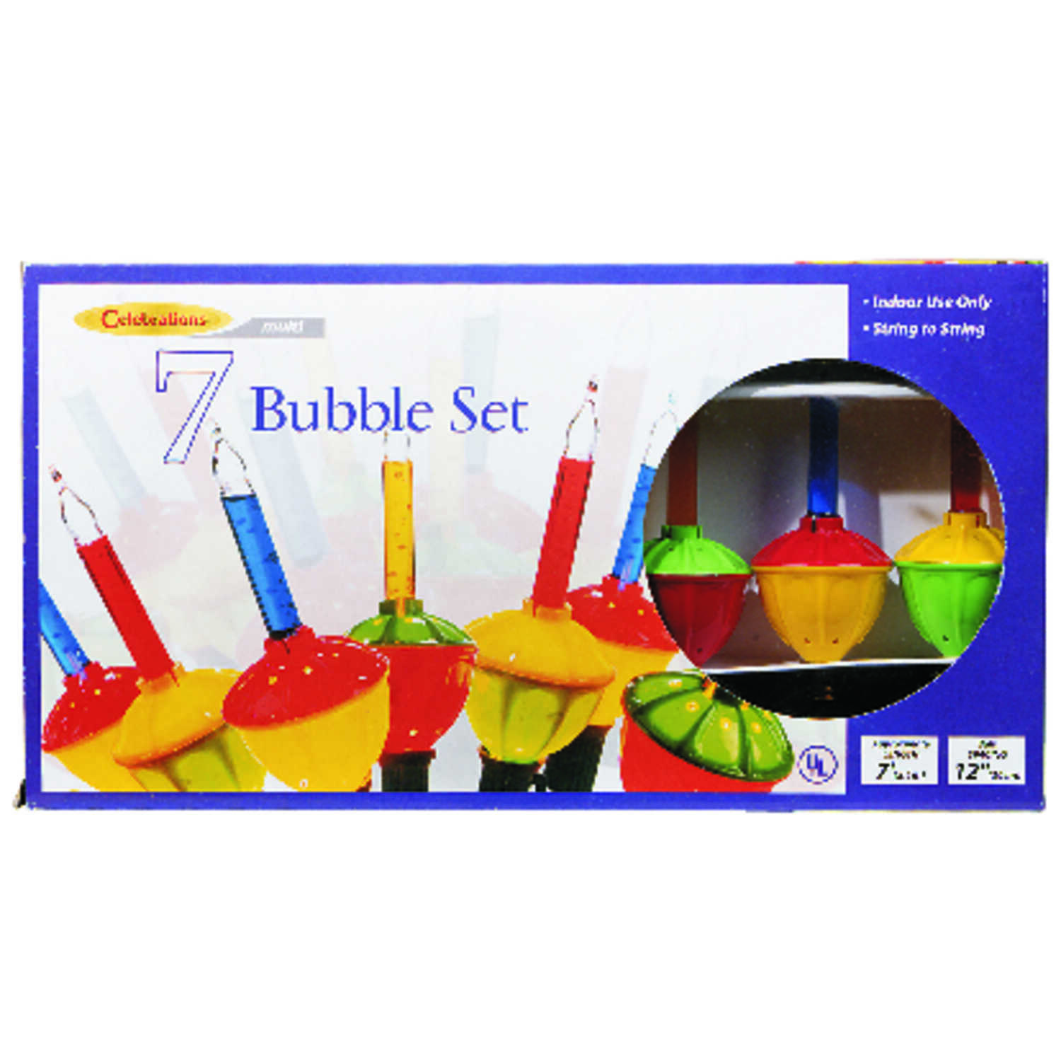 Celebrations  C7  Bubble  Light Set  Multicolored  7 ft. 7 lights