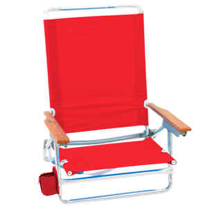Rio Brands  5 position  Adjustable Red  Beach  Folding Chair