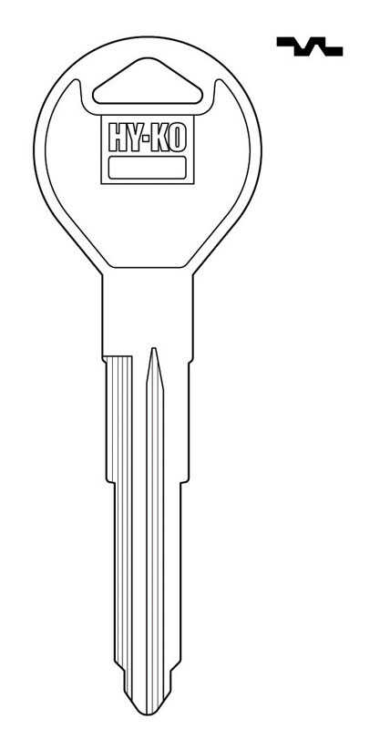 Hy-Ko  Automotive  Key Blank  EZ# MZ27  Double sided For Fits Many 2006 And Older Ignitions