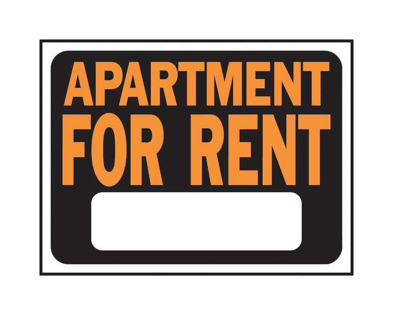 Hy-Ko  English  9 in. H x 12 in. W Sign  Plastic  Apartment for Rent