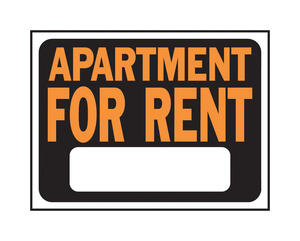 Hy-Ko  English  Apartment for Rent  Sign  Plastic  9 in. H x 12 in. W