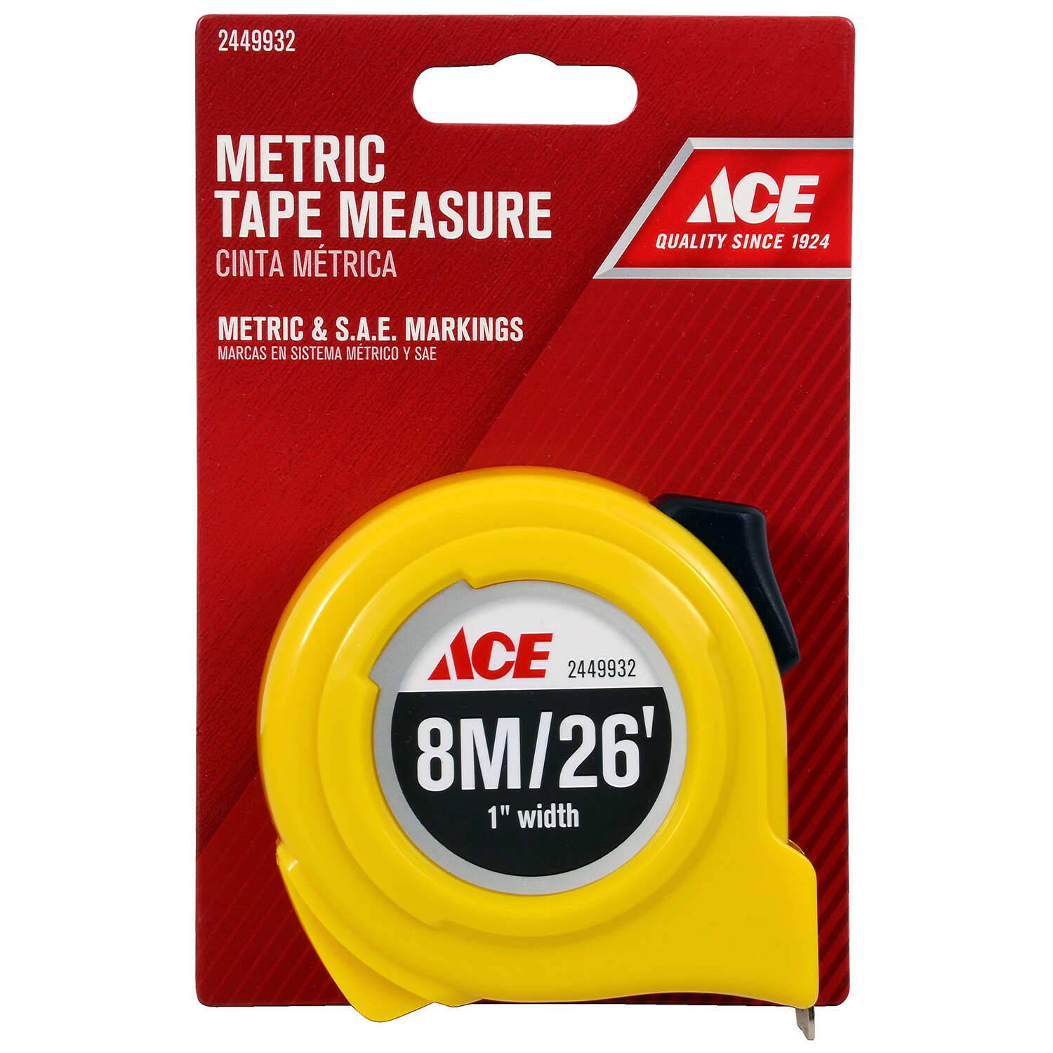 Ace  26 ft. L x 1 in. W Metric Tape Measure  1 pk