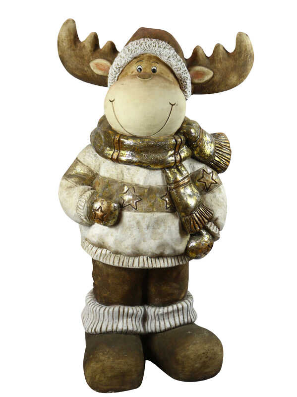 Alpine  Reindeer Statue  Christmas Decoration  Gold  Resin  1 pk