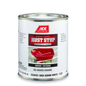 Ace  Rust Stop  Interior/Exterior  Flat  White  Rust Prevention Paint  1 qt. Indoor and Outdoor