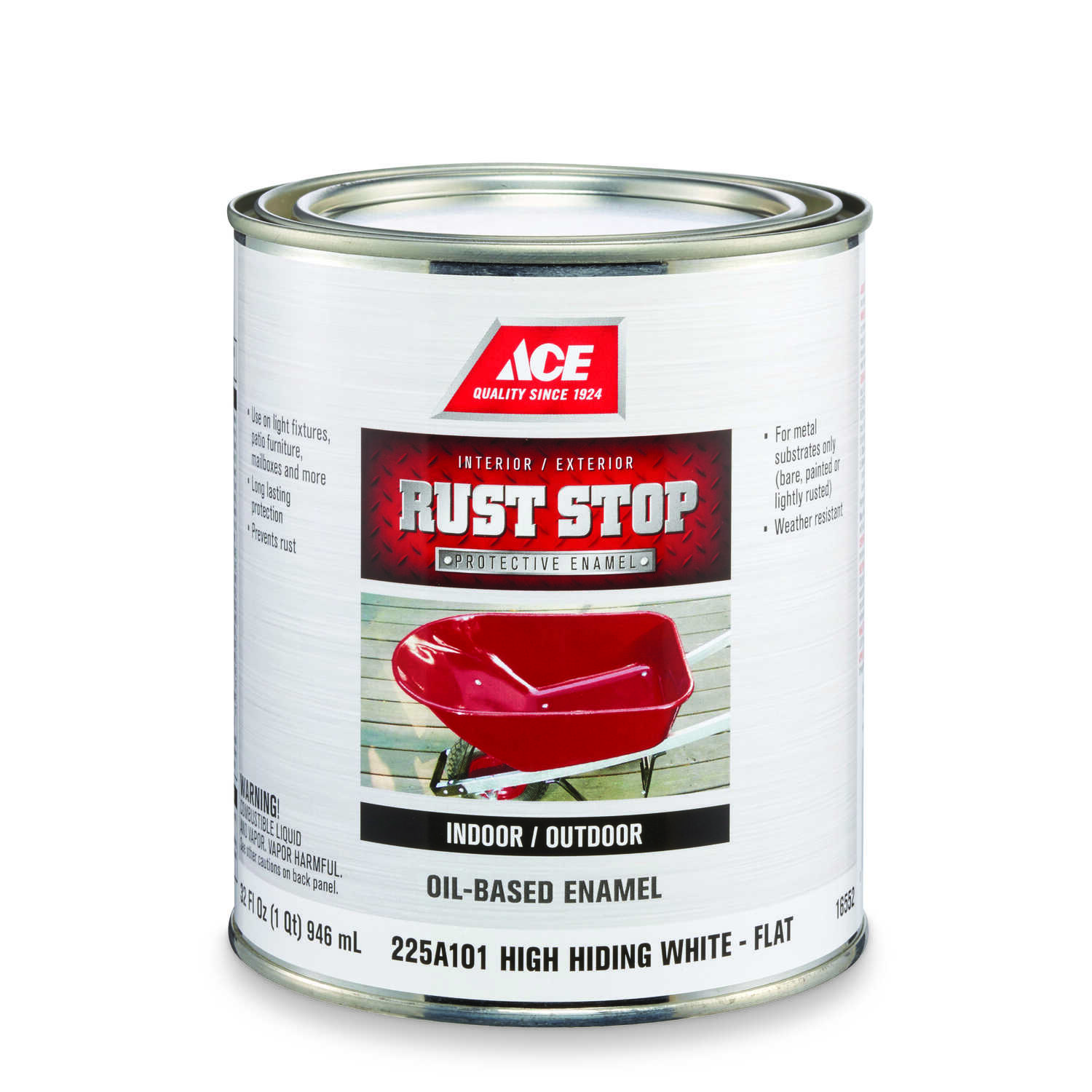 Ace  Rust Stop  Indoor and Outdoor  Flat  White  Rust Prevention Paint  1 qt.