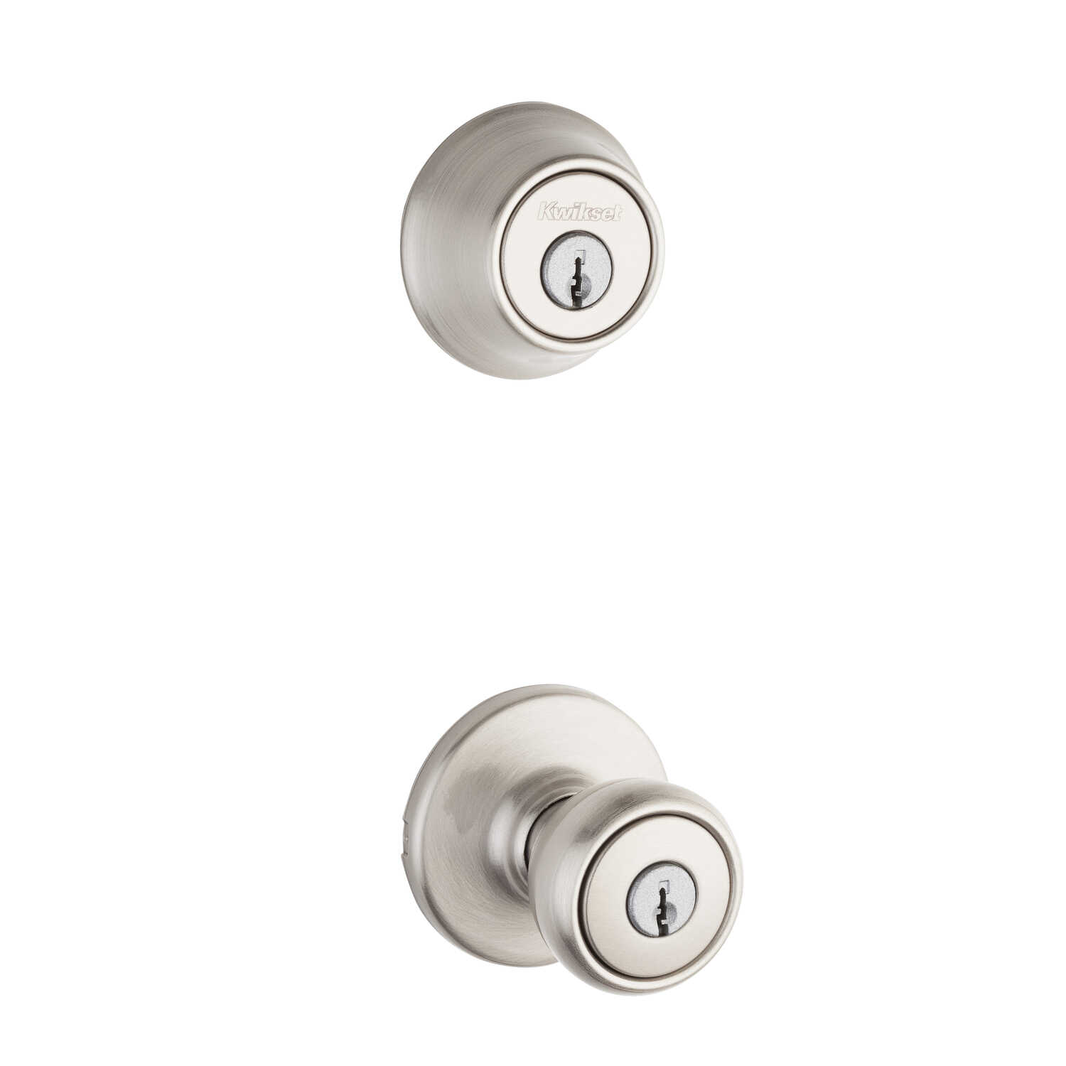 Kwikset  Tylo  Satin Nickel  Steel  Entry Knob and Single Cylinder Deadbolt  ANSI/BHMA Grade 3  1-3/