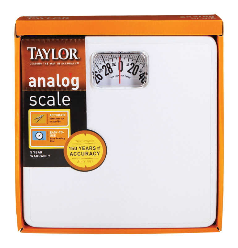 Taylor  300 lb. Analog  Bathroom Scale  White