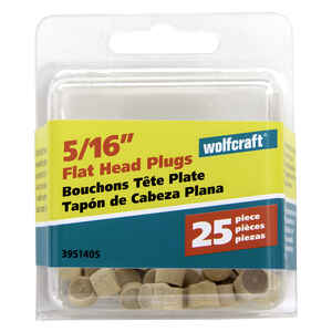 Wolfcraft  Flat  Birch  Head Plug  5/16 in. Dia. x 1/4 in. L 1 pk Natural
